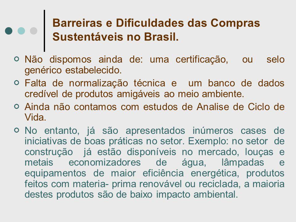 Barreiras e Dificuldades das Compras Sustentáveis no Brasil. Não dispomos ainda de: uma certificação, ou selo genérico estabelecido. Falta de normaliz