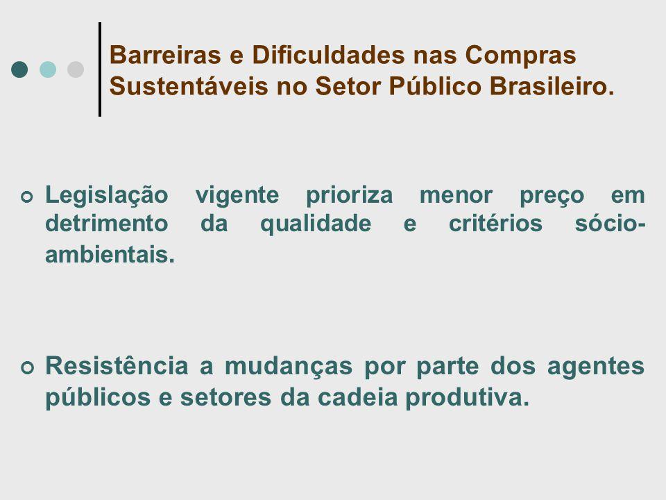 Barreiras e Dificuldades nas Compras Sustentáveis no Setor Público Brasileiro. Legislação vigente prioriza menor preço em detrimento da qualidade e cr