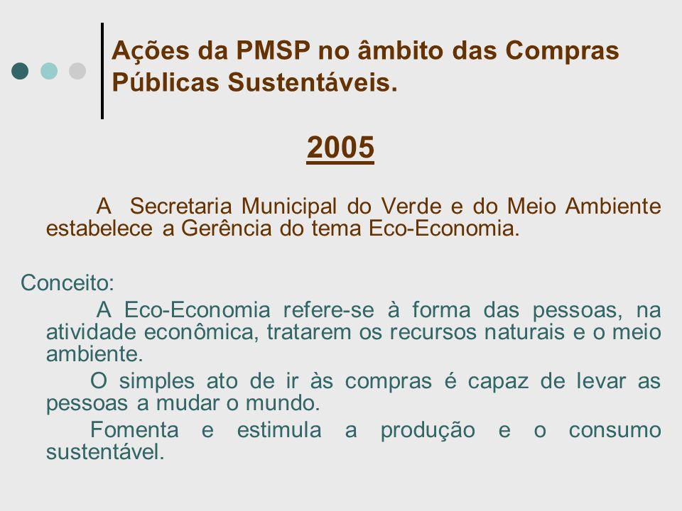 2005 A Secretaria Municipal do Verde e do Meio Ambiente estabelece a Gerência do tema Eco-Economia. Conceito: A Eco-Economia refere-se à forma das pes