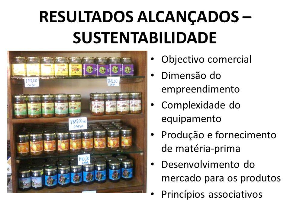 RESULTADOS ALCANÇADOS – SUSTENTABILIDADE Objectivo comercial Dimensão do empreendimento Complexidade do equipamento Produção e fornecimento de matéria-prima Desenvolvimento do mercado para os produtos Princípios associativos