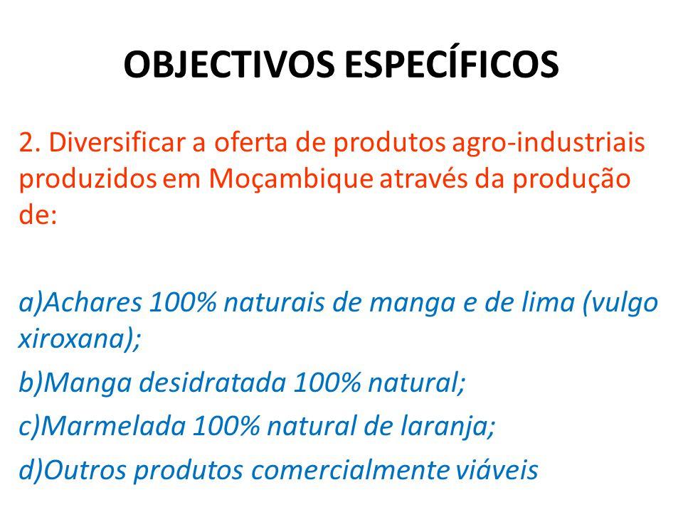 OBJECTIVOS ESPECÍFICOS 2. Diversificar a oferta de produtos agro-industriais produzidos em Moçambique através da produção de: a)Achares 100% naturais