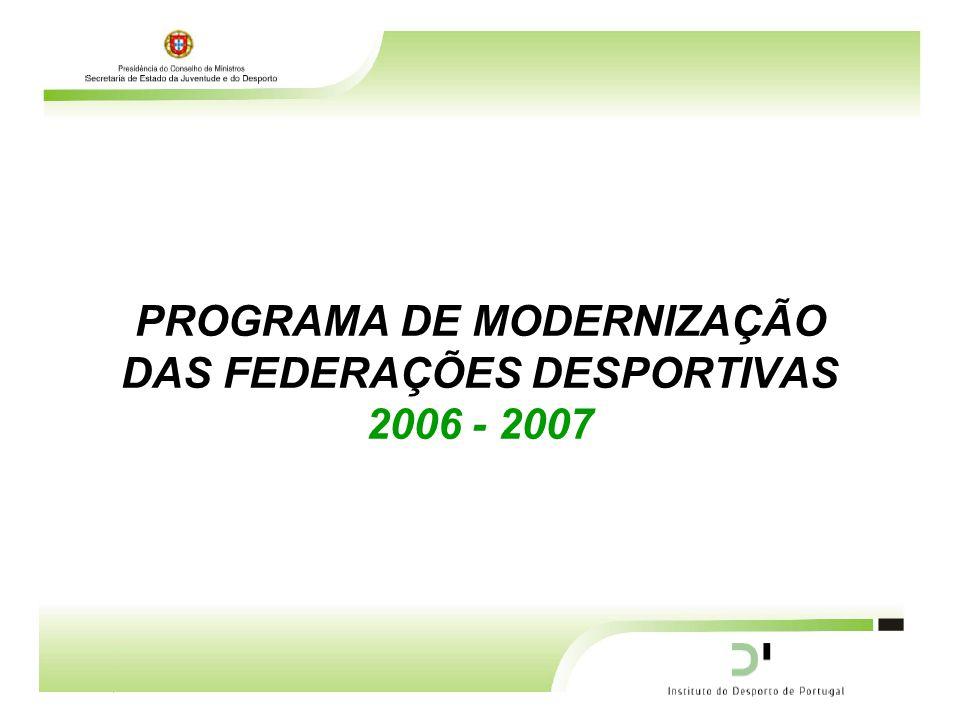 PROGRAMA DE MODERNIZAÇÃO DAS FEDERAÇÕES DESPORTIVAS 2006 - 2007