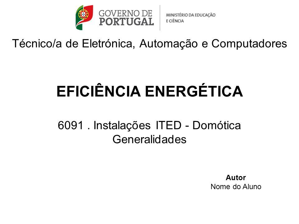 Técnico/a de Eletrónica, Automação e Computadores EFICIÊNCIA ENERGÉTICA 6091. Instalações ITED - Domótica Generalidades Autor Nome do Aluno
