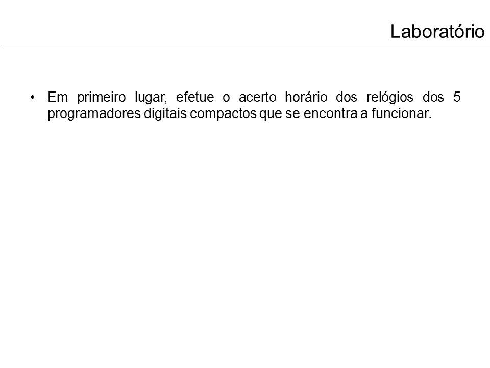 Laboratório Em seguida, realize a configuração (ativação/desativação) dos 5 programadores digitais compactos, tendo em consideração o seguinte horário: – 1º Programador: Todos os dias da semana das 08:30 às 17:30; – 2º Programador: Segundas-feiras, quartas-feiras e sextas-feiras das 18:00 às 02:30; – 3º Programador: Terças-feiras, quintas-feiras e sábados das 18:00 às 06:15; – 4º Programador: Sábados e domingos das 02:15 às 06:15; – 5º Programador: Sábados e domingos das 17:30 às 23:45.