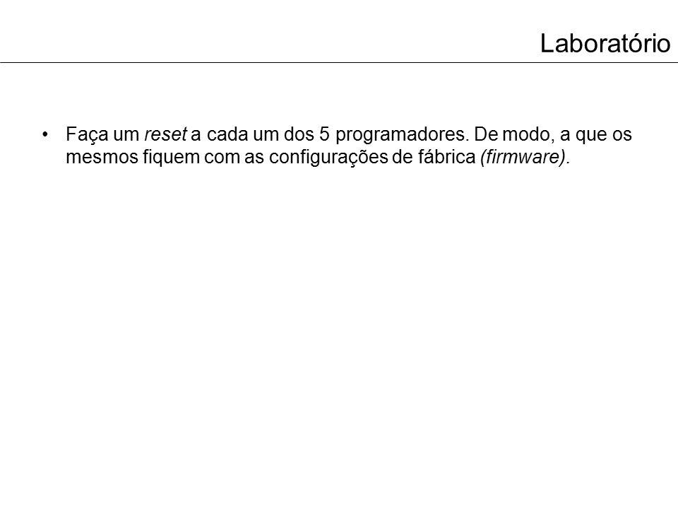 Laboratório Faça um reset a cada um dos 5 programadores. De modo, a que os mesmos fiquem com as configurações de fábrica (firmware).