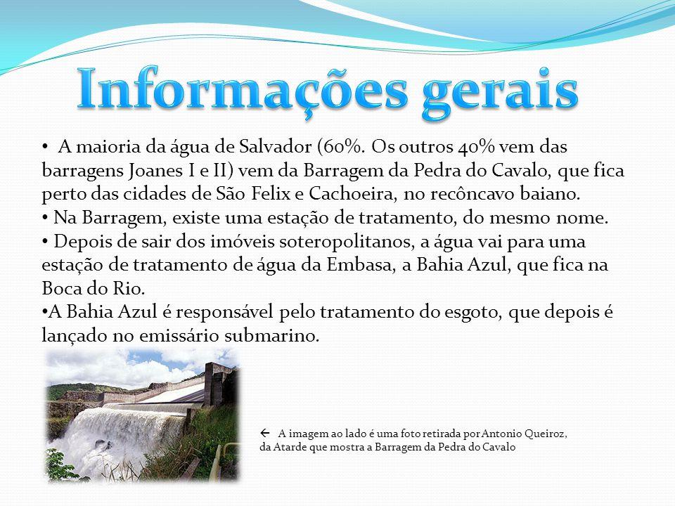 A maioria da água de Salvador (60%. Os outros 40% vem das barragens Joanes I e II) vem da Barragem da Pedra do Cavalo, que fica perto das cidades de S