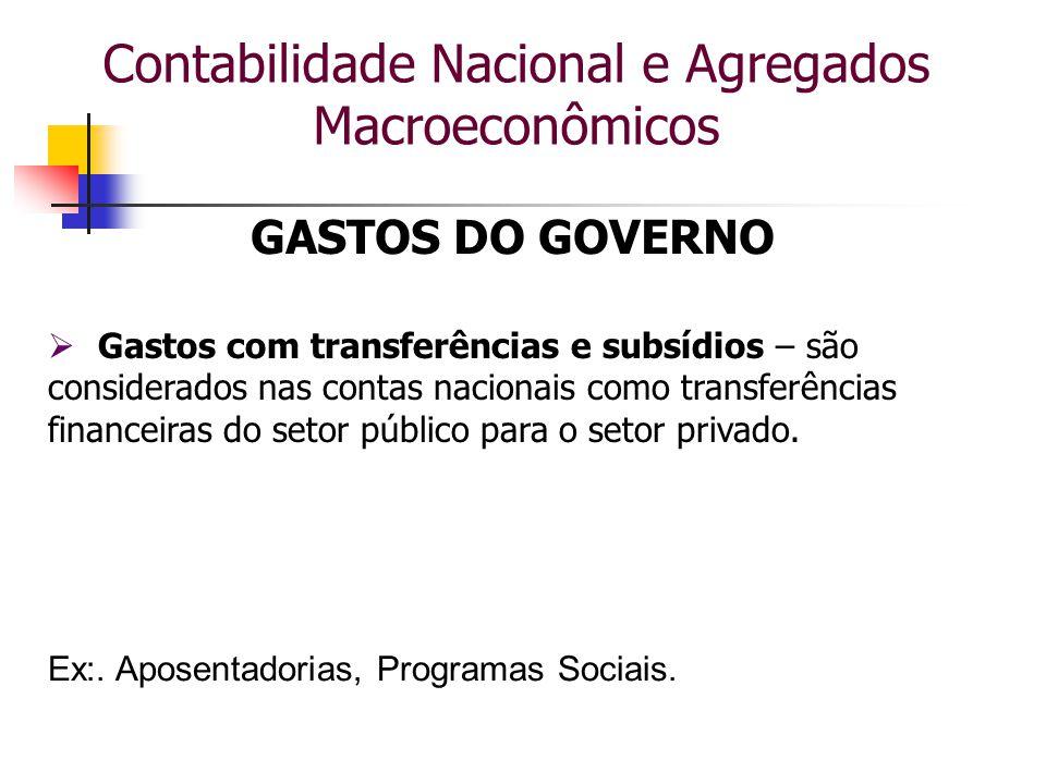 Contabilidade Nacional e Agregados Macroeconômicos GASTOS DO GOVERNO  Gastos com transferências e subsídios – são considerados nas contas nacionais c