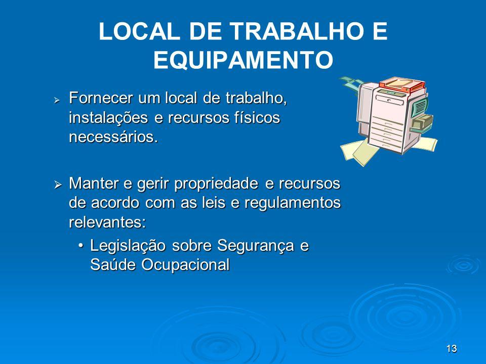 13 LOCAL DE TRABALHO E EQUIPAMENTO  Fornecer um local de trabalho, instalações e recursos físicos necessários.