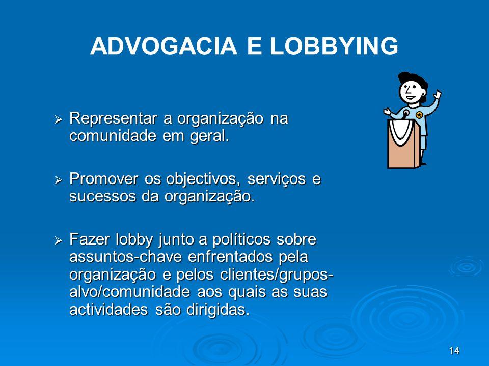 14 ADVOGACIA E LOBBYING  Representar a organização na comunidade em geral.