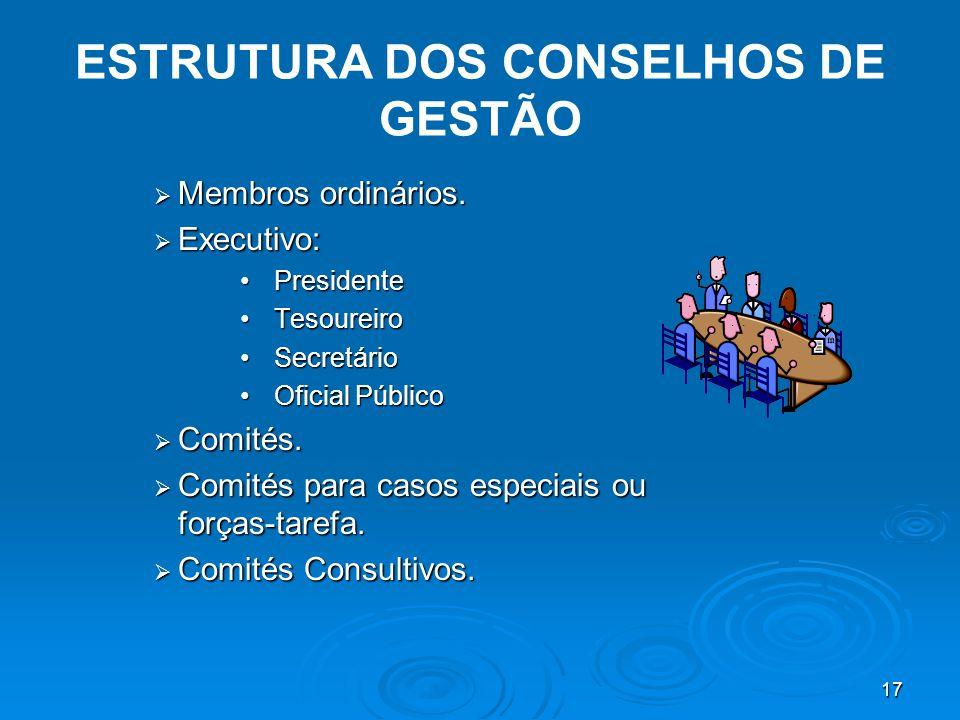 17 ESTRUTURA DOS CONSELHOS DE GESTÃO  Membros ordinários.
