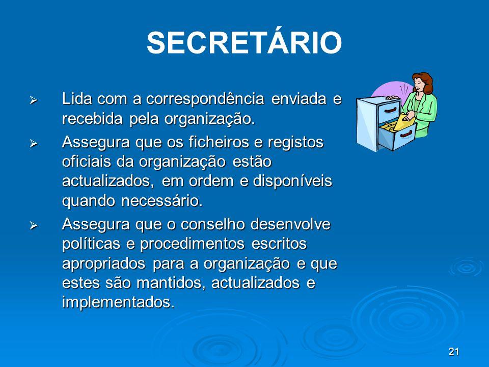 21 SECRETÁRIO  Lida com a correspondência enviada e recebida pela organização.