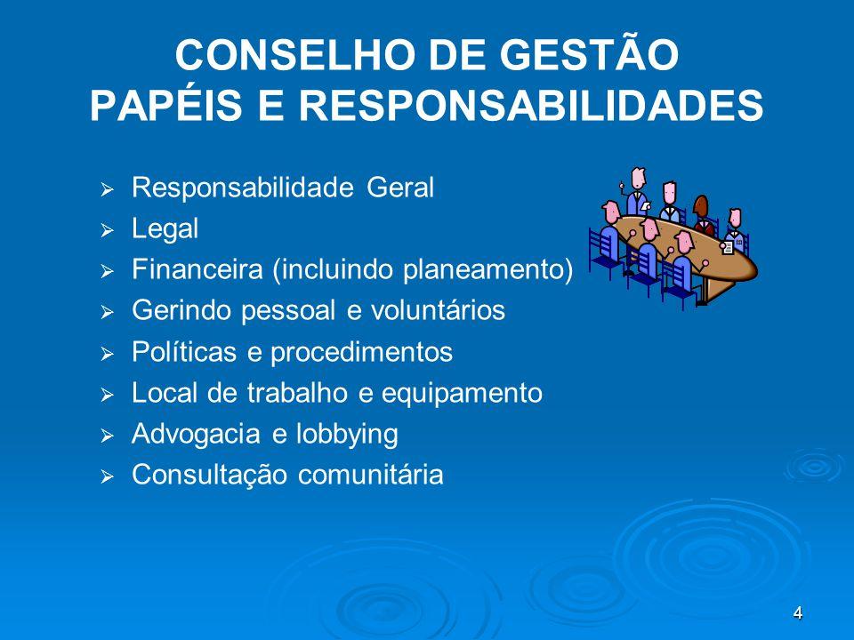 4 CONSELHO DE GESTÃO PAPÉIS E RESPONSABILIDADES   Responsabilidade Geral   Legal   Financeira (incluindo planeamento)   Gerindo pessoal e voluntários   Políticas e procedimentos   Local de trabalho e equipamento   Advogacia e lobbying   Consultação comunitária