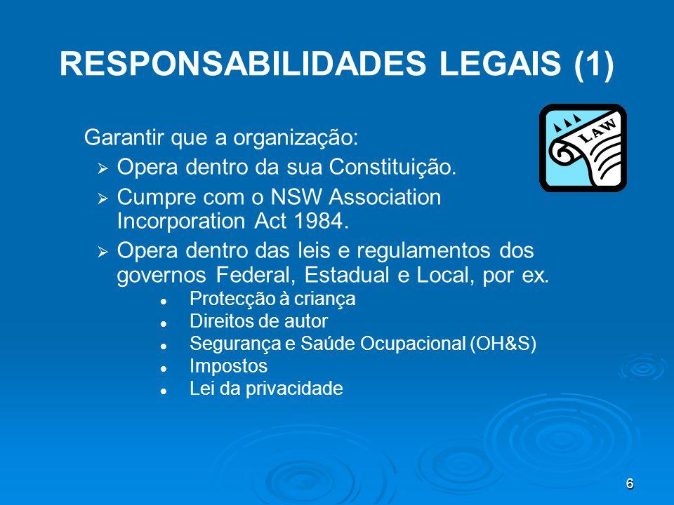 6 RESPONSABILIDADES LEGAIS (1) Garantir que a organização:   Opera dentro da sua Constituição.