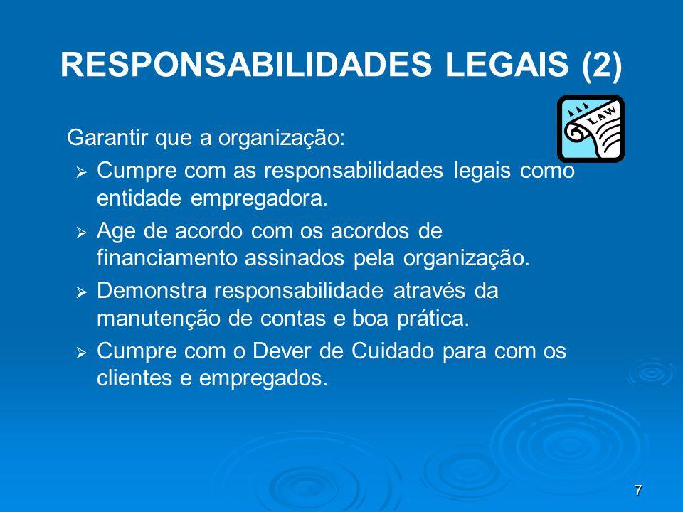 7 RESPONSABILIDADES LEGAIS (2) Garantir que a organização:   Cumpre com as responsabilidades legais como entidade empregadora.