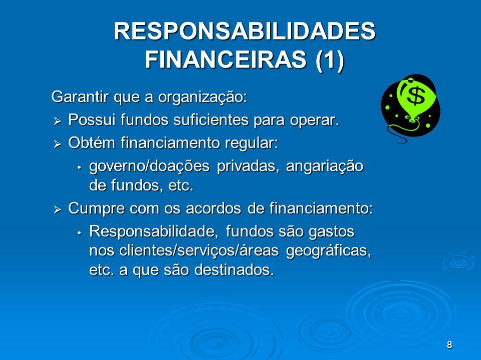 8 RESPONSABILIDADES FINANCEIRAS (1) Garantir que a organização: Garantir que a organização:  Possui fundos suficientes para operar.