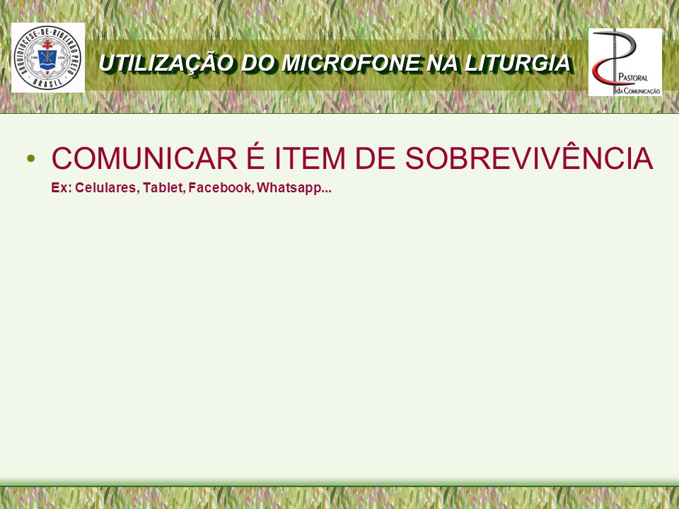 COMUNICAR É ITEM DE SOBREVIVÊNCIA Ex: Celulares, Tablet, Facebook, Whatsapp...