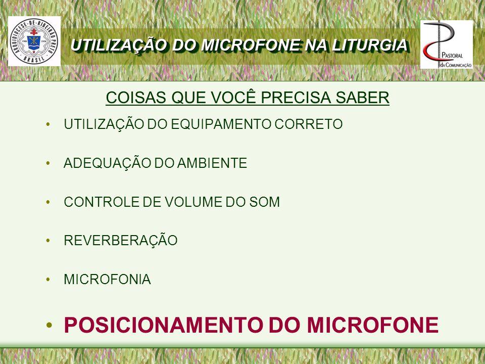UTILIZAÇÃO DO EQUIPAMENTO CORRETO ADEQUAÇÃO DO AMBIENTE CONTROLE DE VOLUME DO SOM REVERBERAÇÃO MICROFONIA POSICIONAMENTO DO MICROFONE COISAS QUE VOCÊ PRECISA SABER UTILIZAÇÃO DO MICROFONE NA LITURGIA