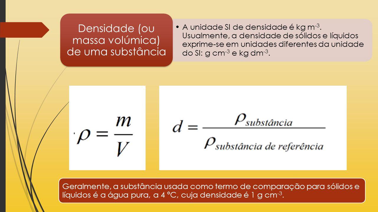 A unidade SI de densidade é kg m -3. Usualmente, a densidade de sólidos e líquidos exprime-se em unidades diferentes da unidade do SI: g cm -3 e kg dm