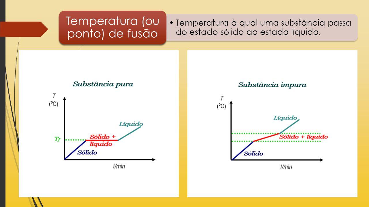 Temperatura à qual uma substância passa do estado sólido ao estado líquido. Temperatura (ou ponto) de fusão