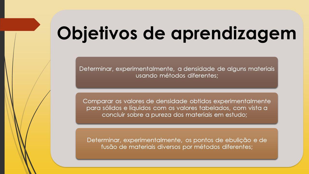 Objetivos de aprendizagem Determinar, experimentalmente, a densidade de alguns materiais usando métodos diferentes; Comparar os valores de densidade o