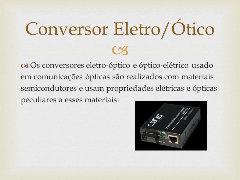   Os conversores eletro-óptico e óptico-elétrico usado em comunicações ópticas são realizados com materiais semicondutores e usam propriedades elétricas e ópticas peculiares a esses materiais.