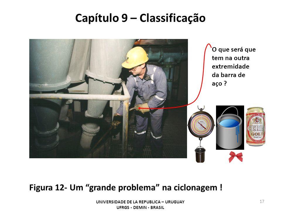 Capítulo 9 – Classificação UNIVERSIDADE DE LA REPUBLICA – URUGUAY UFRGS - DEMIN - BRASIL 17 Figura 12- Um grande problema na ciclonagem .