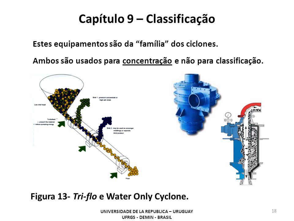 Capítulo 9 – Classificação UNIVERSIDADE DE LA REPUBLICA – URUGUAY UFRGS - DEMIN - BRASIL 18 Figura 13- Tri-flo e Water Only Cyclone.