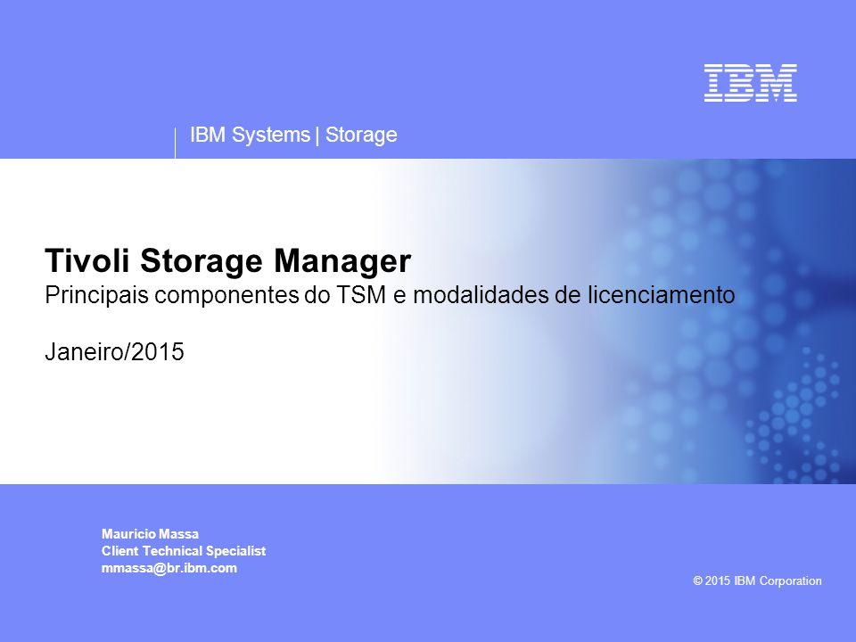 IBM Systems | Storage Tivoli Storage Manager Principais componentes do TSM e modalidades de licenciamento Janeiro/2015 Mauricio Massa Client Technical