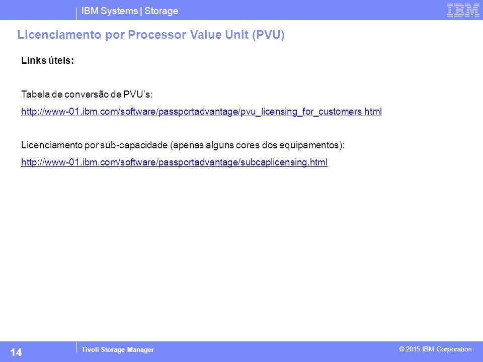 IBM Systems | Storage Tivoli Storage Manager © 2015 IBM Corporation 14 Licenciamento por Processor Value Unit (PVU) Links úteis: Tabela de conversão d