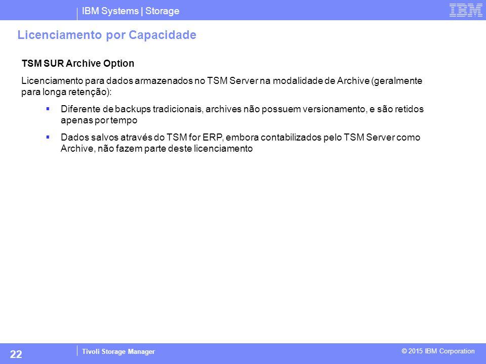IBM Systems | Storage Tivoli Storage Manager © 2015 IBM Corporation 22 Licenciamento por Capacidade TSM SUR Archive Option Licenciamento para dados ar