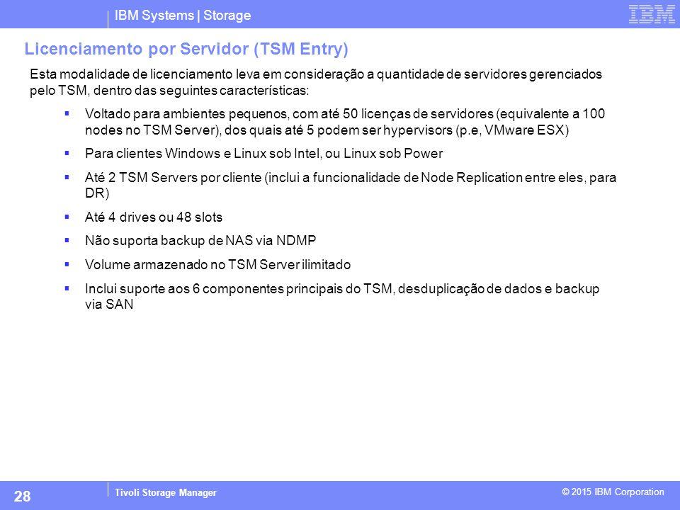 IBM Systems | Storage Tivoli Storage Manager © 2015 IBM Corporation 28 Licenciamento por Servidor (TSM Entry) Esta modalidade de licenciamento leva em