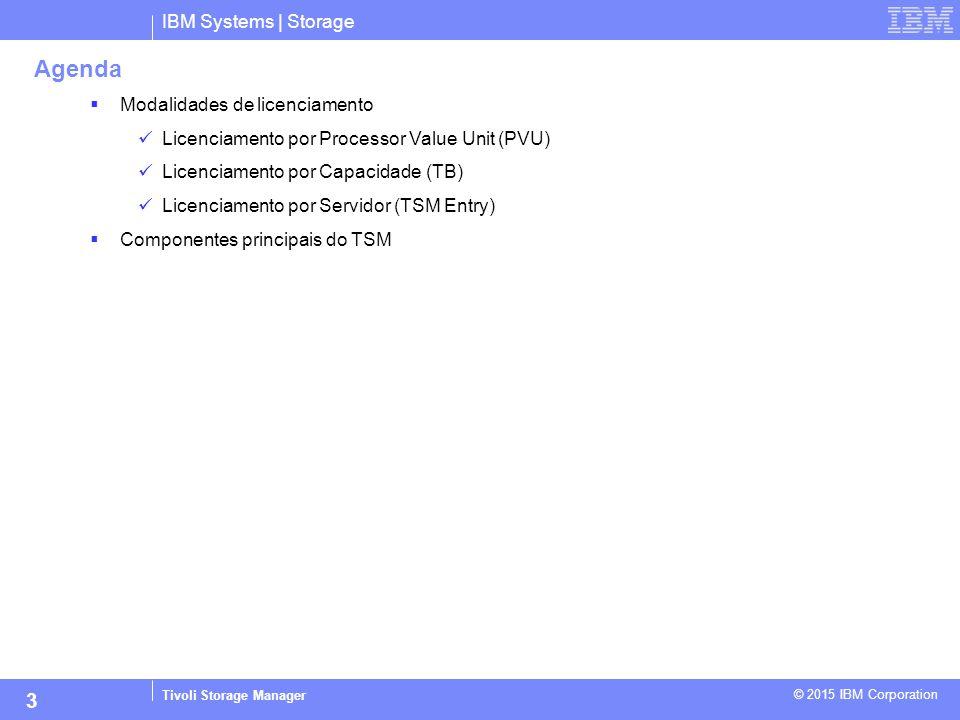 IBM Systems | Storage Tivoli Storage Manager © 2015 IBM Corporation 3 Agenda  Modalidades de licenciamento Licenciamento por Processor Value Unit (PV