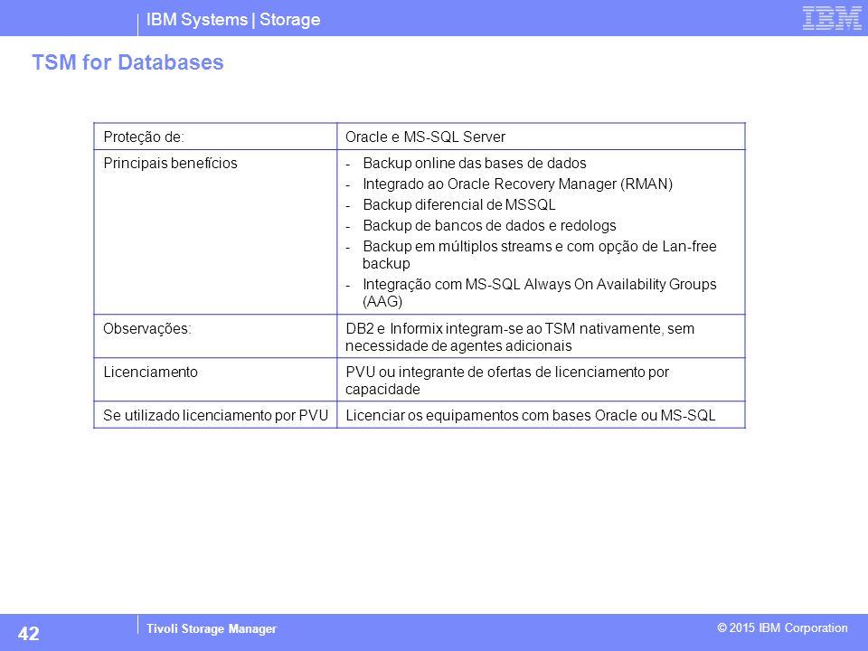 IBM Systems | Storage Tivoli Storage Manager © 2015 IBM Corporation 42 TSM for Databases Proteção de:Oracle e MS-SQL Server Principais benefícios-Back