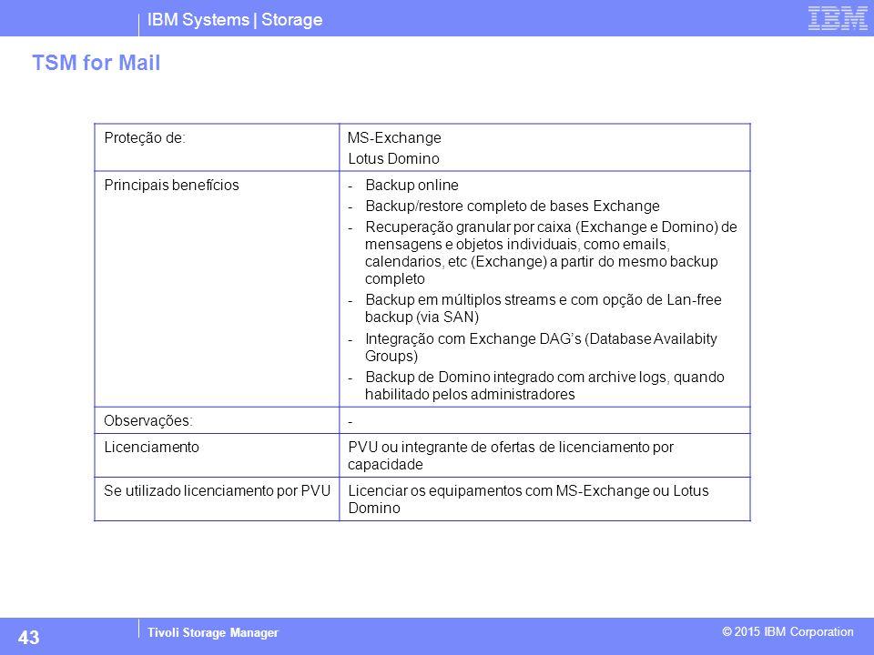 IBM Systems | Storage Tivoli Storage Manager © 2015 IBM Corporation 43 TSM for Mail Proteção de:MS-Exchange Lotus Domino Principais benefícios-Backup
