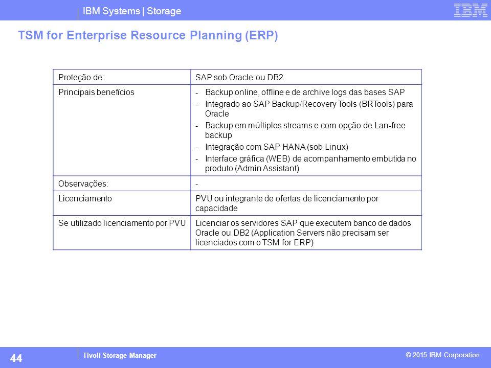 IBM Systems | Storage Tivoli Storage Manager © 2015 IBM Corporation 44 TSM for Enterprise Resource Planning (ERP) Proteção de:SAP sob Oracle ou DB2 Pr
