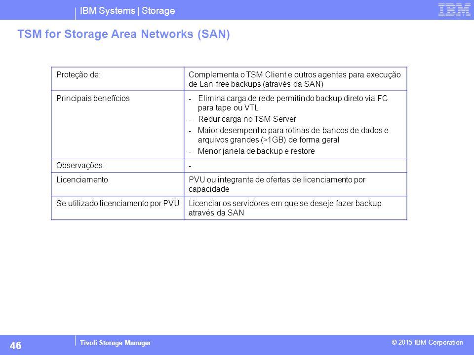 IBM Systems | Storage Tivoli Storage Manager © 2015 IBM Corporation 46 TSM for Storage Area Networks (SAN) Proteção de:Complementa o TSM Client e outr