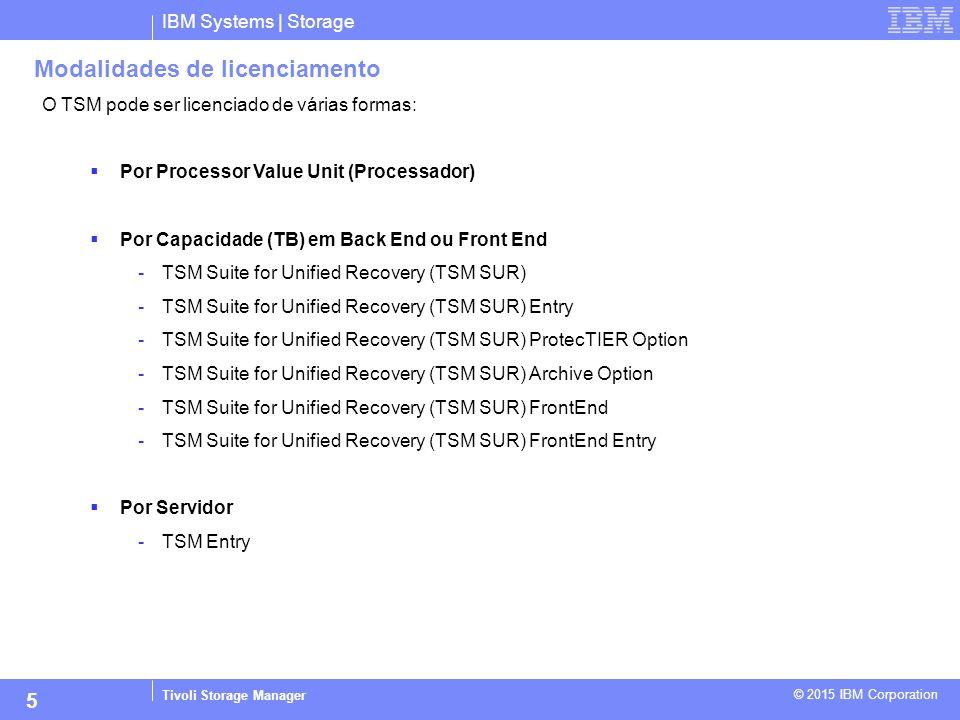 IBM Systems | Storage Tivoli Storage Manager © 2015 IBM Corporation 5 Modalidades de licenciamento O TSM pode ser licenciado de várias formas:  Por P