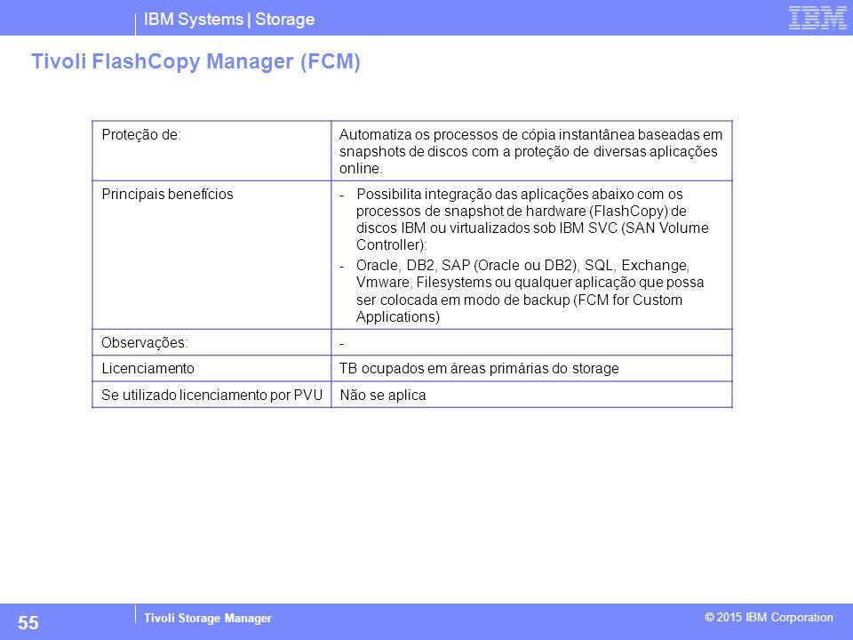 IBM Systems | Storage Tivoli Storage Manager © 2015 IBM Corporation 55 Tivoli FlashCopy Manager (FCM) Proteção de:Automatiza os processos de cópia ins