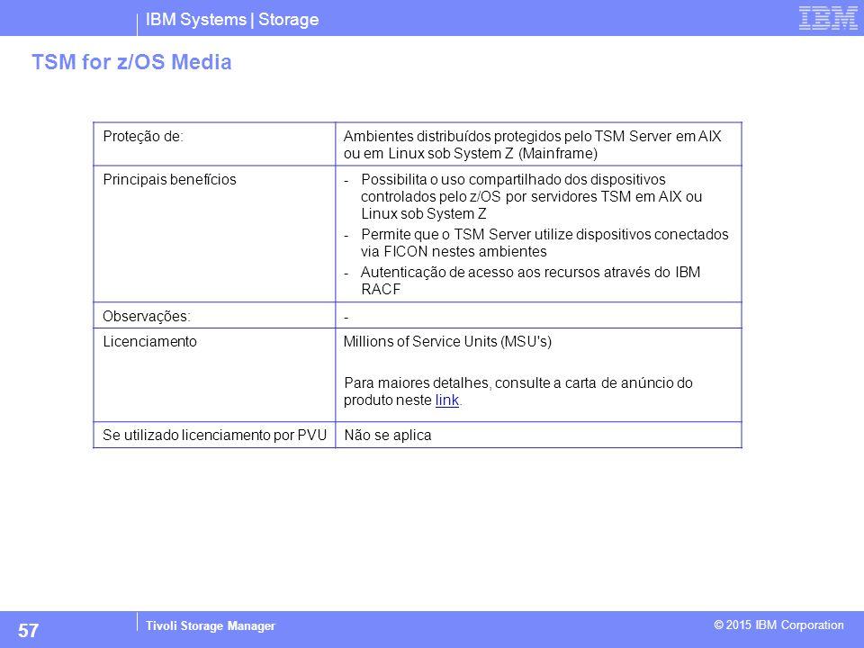 IBM Systems | Storage Tivoli Storage Manager © 2015 IBM Corporation 57 TSM for z/OS Media Proteção de:Ambientes distribuídos protegidos pelo TSM Serve