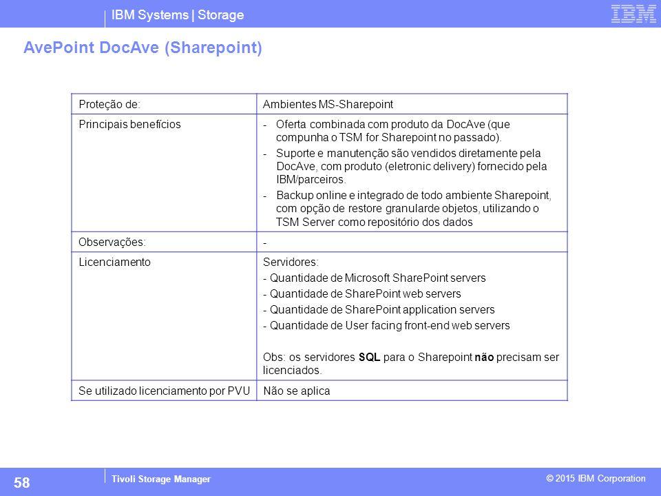 IBM Systems | Storage Tivoli Storage Manager © 2015 IBM Corporation 58 AvePoint DocAve (Sharepoint) Proteção de:Ambientes MS-Sharepoint Principais ben