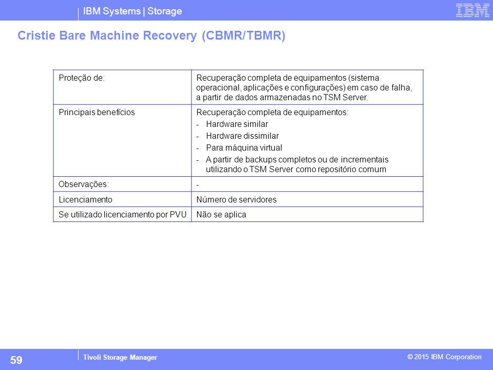 IBM Systems | Storage Tivoli Storage Manager © 2015 IBM Corporation 59 Cristie Bare Machine Recovery (CBMR/TBMR) Proteção de:Recuperação completa de e