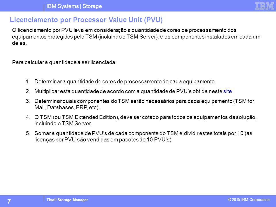 IBM Systems | Storage Tivoli Storage Manager © 2015 IBM Corporation 7 Licenciamento por Processor Value Unit (PVU) O licenciamento por PVU leva em con