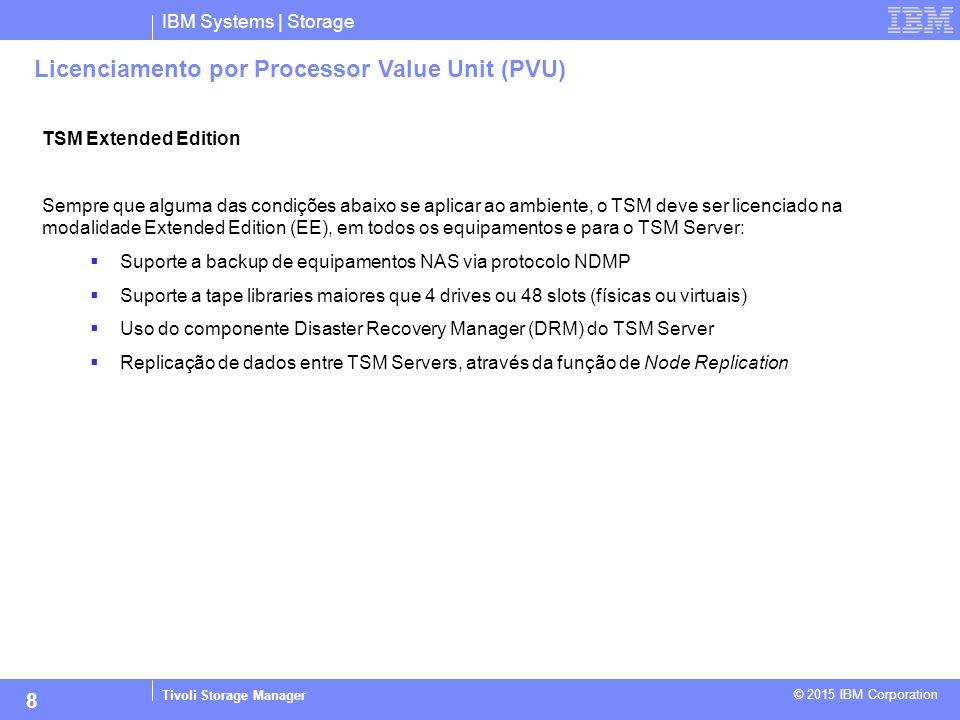 IBM Systems | Storage Tivoli Storage Manager © 2015 IBM Corporation 8 Licenciamento por Processor Value Unit (PVU) TSM Extended Edition Sempre que alg