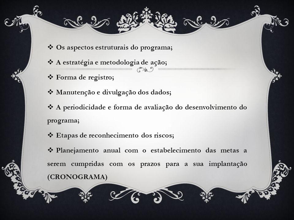  Os aspectos estruturais do programa;  A estratégia e metodologia de ação;  Forma de registro;  Manutenção e divulgação dos dados;  A periodicida