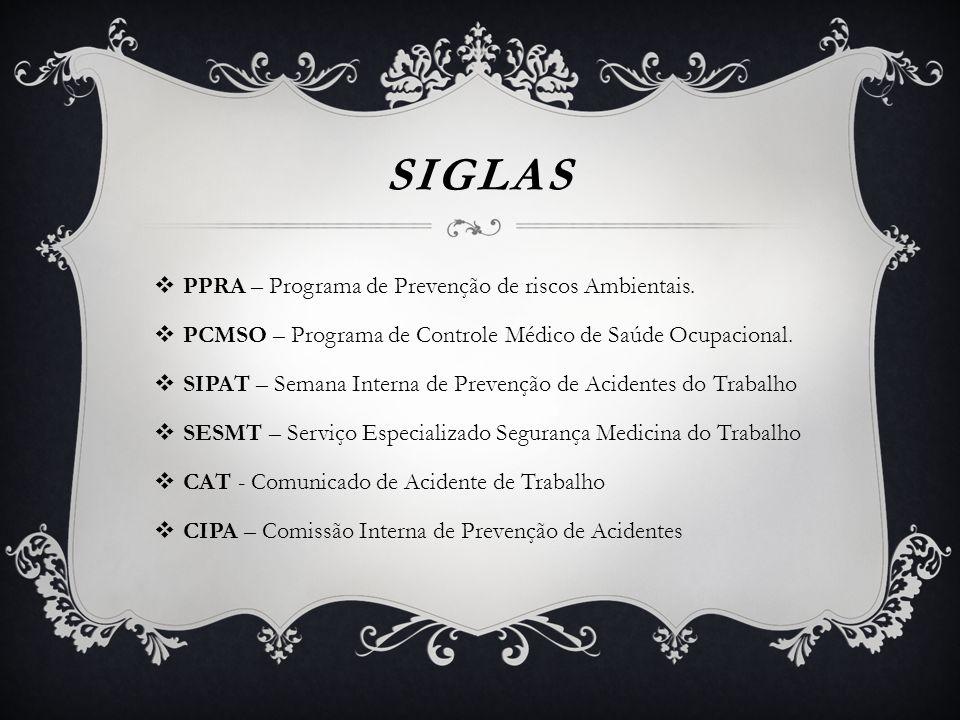 SIGLAS  PPRA – Programa de Prevenção de riscos Ambientais.  PCMSO – Programa de Controle Médico de Saúde Ocupacional.  SIPAT – Semana Interna de Pr