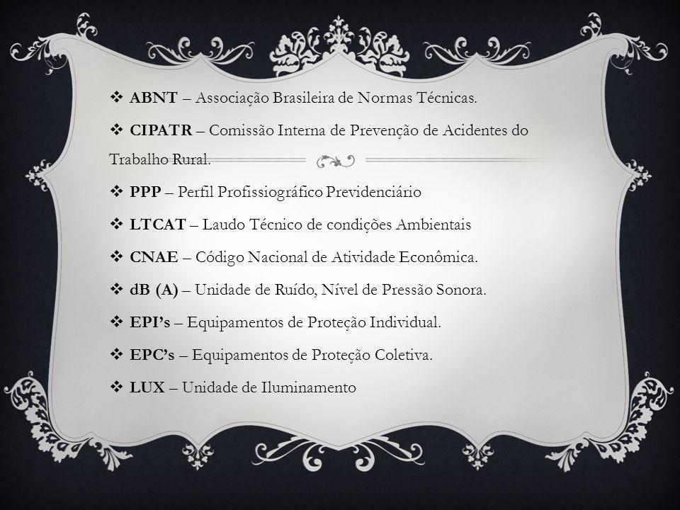  ABNT – Associação Brasileira de Normas Técnicas.  CIPATR – Comissão Interna de Prevenção de Acidentes do Trabalho Rural.  PPP – Perfil Profissiogr