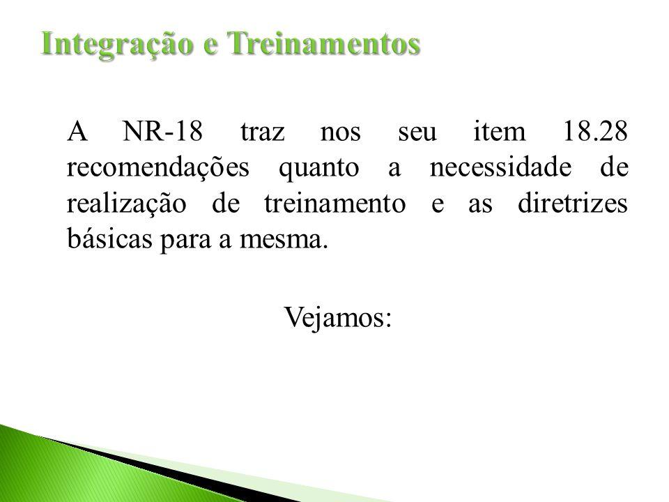 A NR-18 traz nos seu item 18.28 recomendações quanto a necessidade de realização de treinamento e as diretrizes básicas para a mesma.