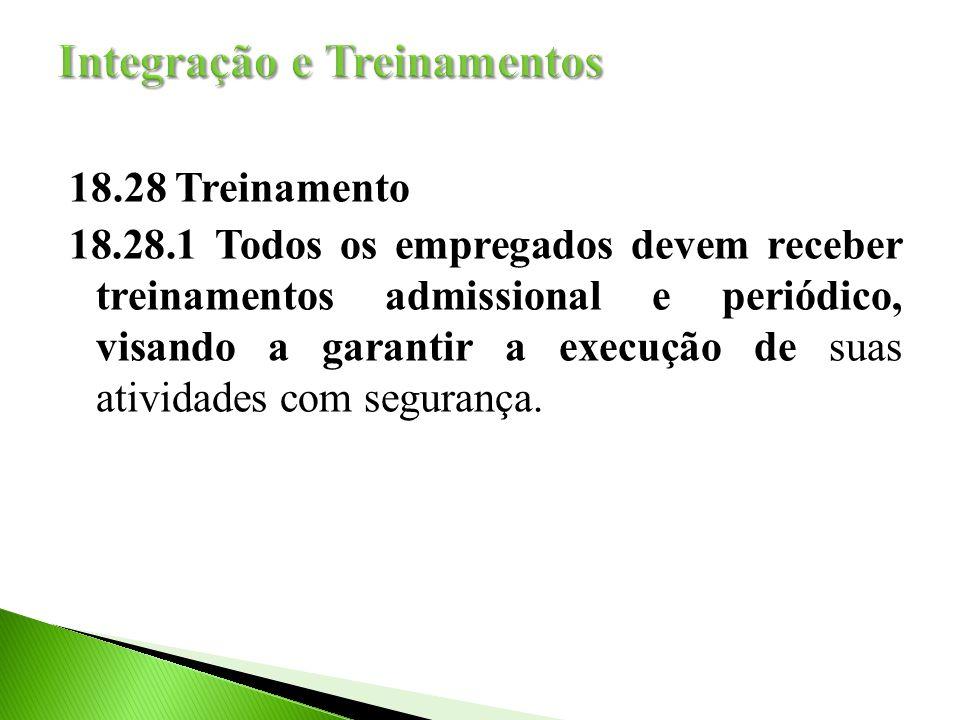 18.28 Treinamento 18.28.1 Todos os empregados devem receber treinamentos admissional e periódico, visando a garantir a execução de suas atividades com segurança.