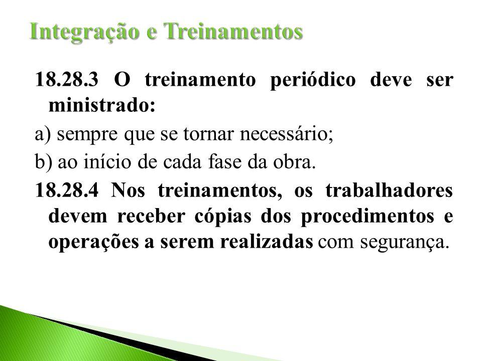 18.28.3 O treinamento periódico deve ser ministrado: a) sempre que se tornar necessário; b) ao início de cada fase da obra.