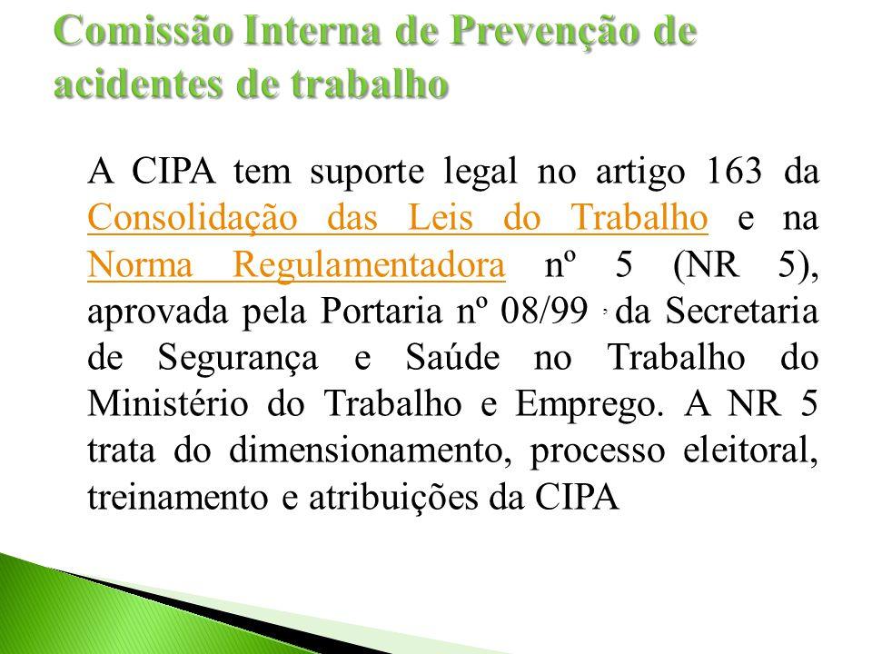 A CIPA tem suporte legal no artigo 163 da Consolidação das Leis do Trabalho e na Norma Regulamentadora nº 5 (NR 5), aprovada pela Portaria nº 08/99, da Secretaria de Segurança e Saúde no Trabalho do Ministério do Trabalho e Emprego.